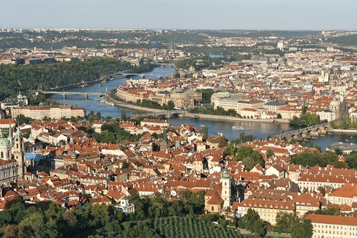 CZECH REPUBLIC PRAGUE AERIAL VIEW OF THE LESSER TOWN AND THE OLD TOWN VLTAVA RIVER CHARLES BRIDGE : Stock Photo