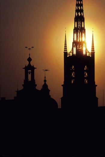 Stock Photo: 4176-22227 Sweden, Stockholm - Silhouette of City hall