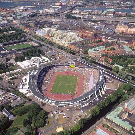 Sweden, Gothenborg - Aerial view of a Ullevi Stadium : Stock Photo