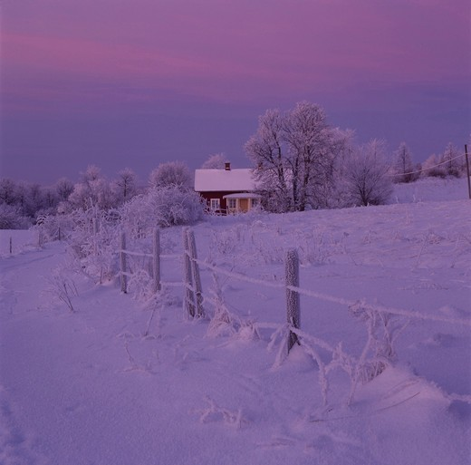 Old farm in cold winter evning, Billingen in Vastergotland (Vastergotland), Sweden. : Stock Photo