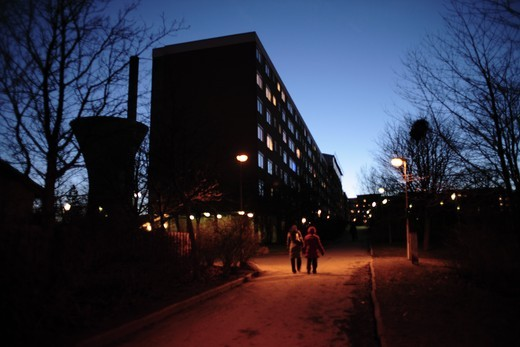 Stock Photo: 4176-22668 Apartment lit up at night, Henriksdalsberget, Nacka, Stockholm, Sweden