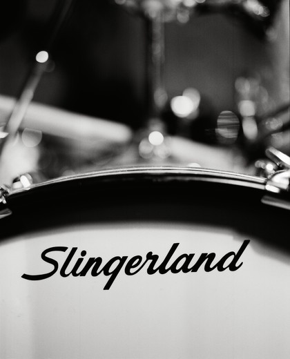 Close-up of a drum with the brand name, Slingerland : Stock Photo