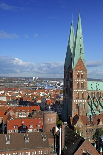 High angle view of towers of a church in a city, Tyskland, Germany : Stock Photo