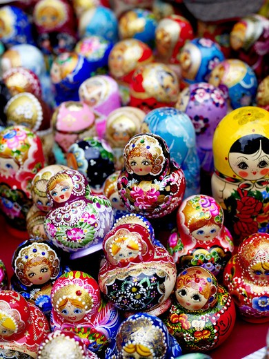 Stock Photo: 4176-24820 Overhead view of russian dolls