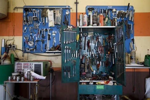 A car repair in Kalmar, Sweden. The Tool Cabinets. : Stock Photo