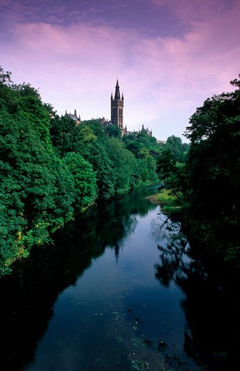 Stock Photo: 4176-26566 Scotland, Glasgow - Reflection of trees in water, Glasgow University, Kelvingrove Park, River Kelvin