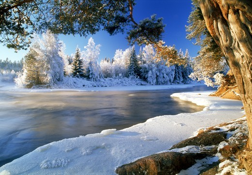 Stock Photo: 4176-27480 Dal River in Sweden in winter