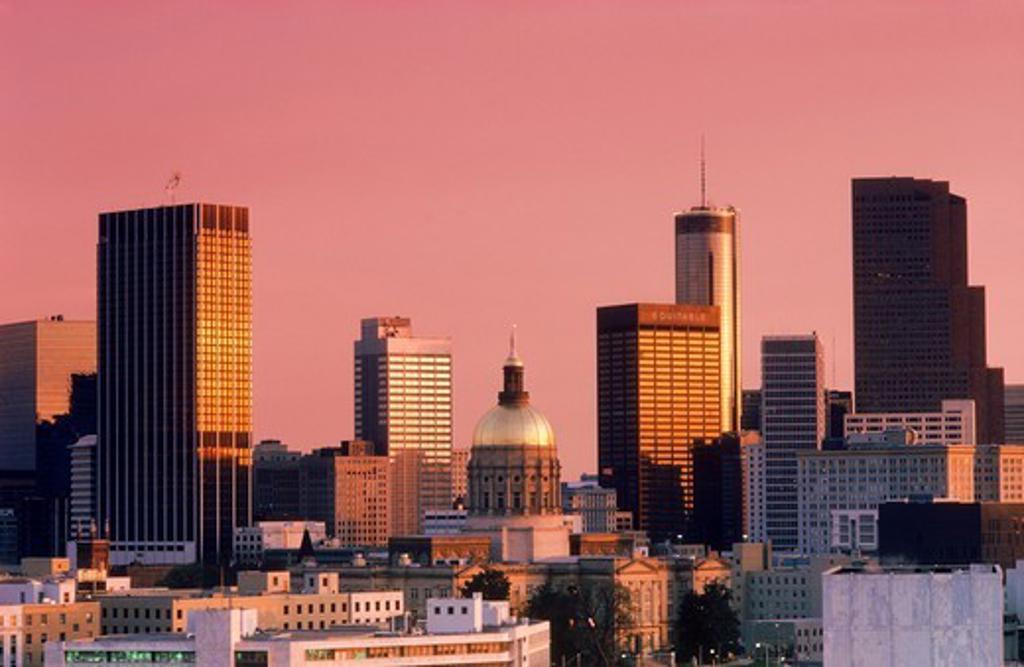 Atlanta city skyline in sunrise light : Stock Photo