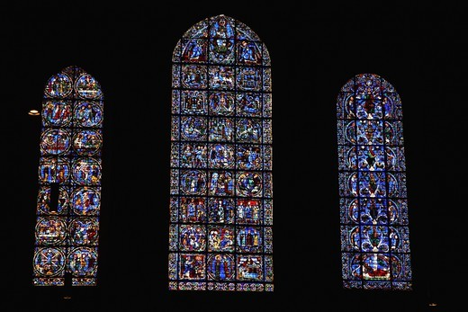 France, Centre, Eure-et-Loire, Chartres, Cathedral of Notre Dame, stained glass window : Stock Photo