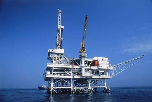 Stock Photo: 4176-29978 Offshore Pacific Ocean oil rig off Huntington Beach, California