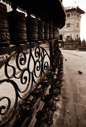 Prayer wheels, Kathmandu, Nepal : Stock Photo