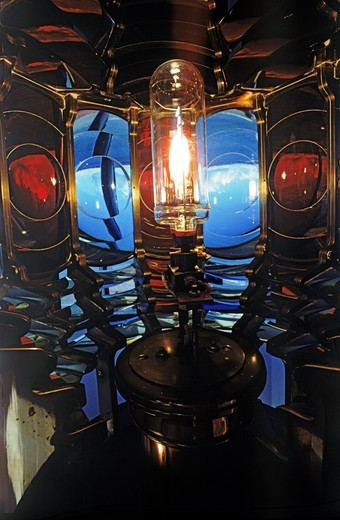 Stock Photo: 4176-30174 West Point Lighthouse lamp and crystal lens on Puget Sound in Washington