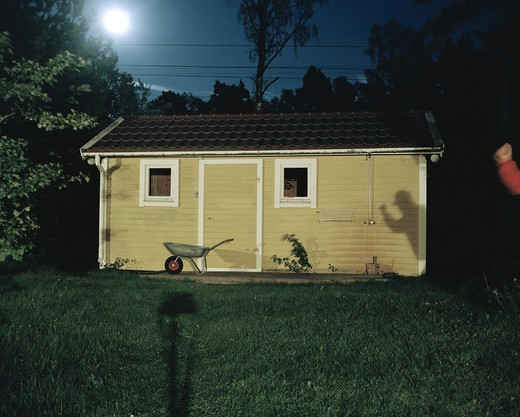 Countryside suspense in full moon, Sweden. : Stock Photo
