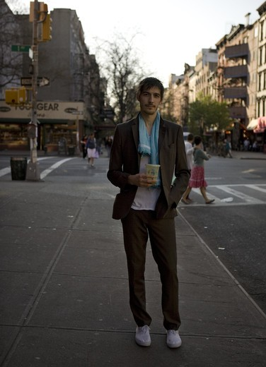 Portrait of a young man in New York, East Village : Stock Photo