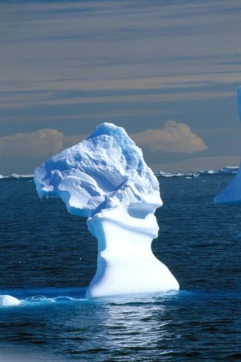 Iceberg shaped as Nefertiti, Antarctic Gerlache Strait : Stock Photo