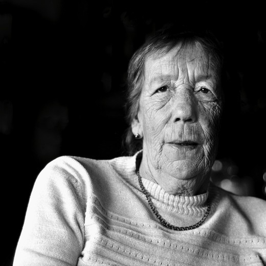Stock Photo: 4176-35718 Black and white portrait of old women with neckless