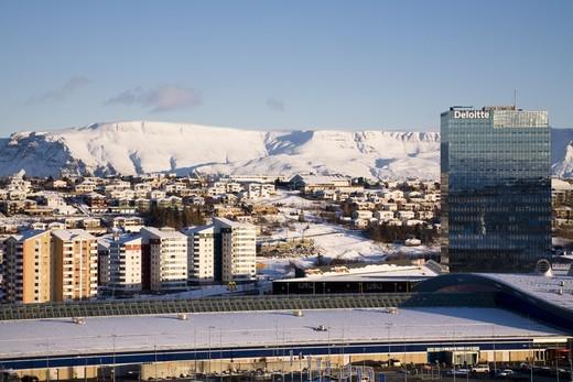 Smaralind shopping center and Turninn office building. Kopavogur. Iceland. : Stock Photo