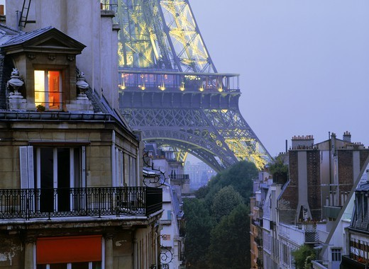 Light in apartment with Eiffel Tower depicting Paris night life : Stock Photo