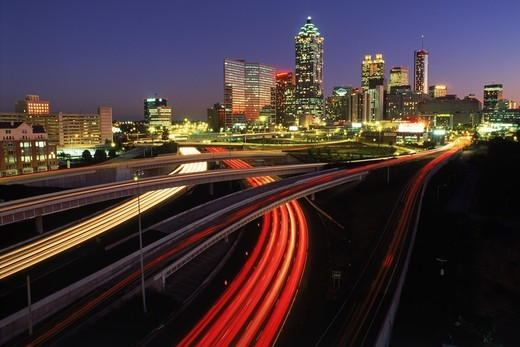 Stock Photo: 4176-4298 Flowing traffic on highways around Atlanta at dusk