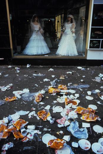 Garbage on a street in front of a wedding salon, Copenhagen, Denmark : Stock Photo