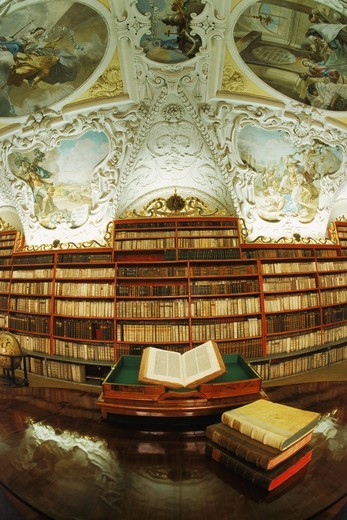 Theological Hall in Strohov Library at Strahov Monastery in Prague, Czech Republic : Stock Photo