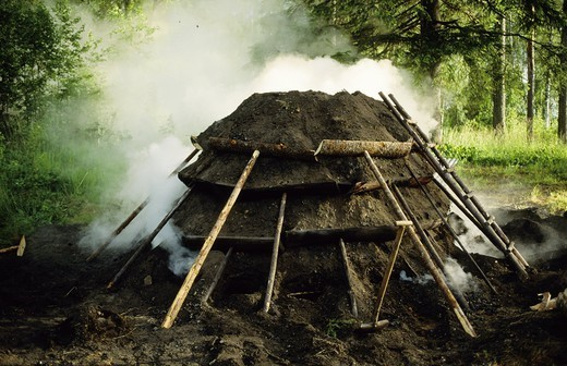 Stock Photo: 4176-46433 smokestack who produce charcoal