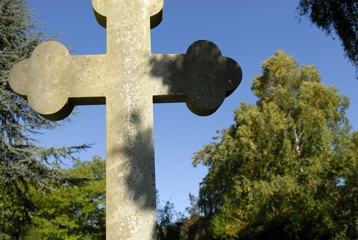 Stone cross on graveyard, Copenhagen, Denmark. : Stock Photo