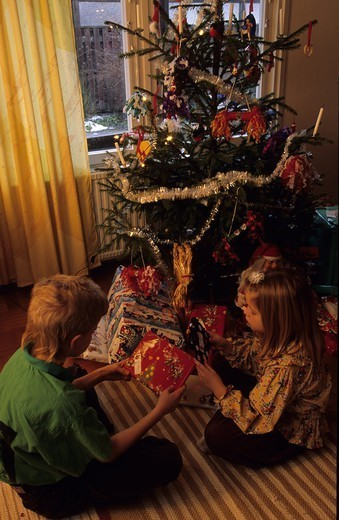 Stock Photo: 4176-47538 Boy and a girl opening Christmas presents