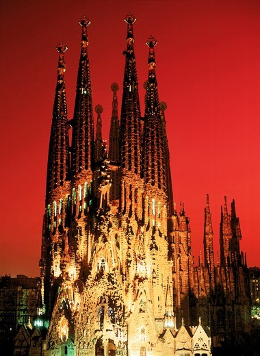 Stock Photo: 4176-5343 Sagrada Familia Church of the Holy Family at night in Barcelona Spain