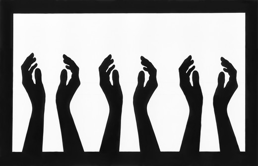 Stock Photo: 4176-5463 Silhouette of three people's hands clapping
