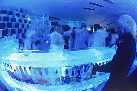 Having cocktails at Ice Bar in Nordic Sea Hotel in Stockholm : Stock Photo