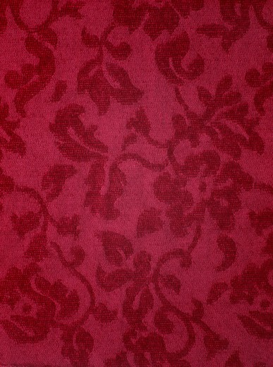 Stock Photo: 4176-5670 Flowers pattern on red flannel in close-up shot