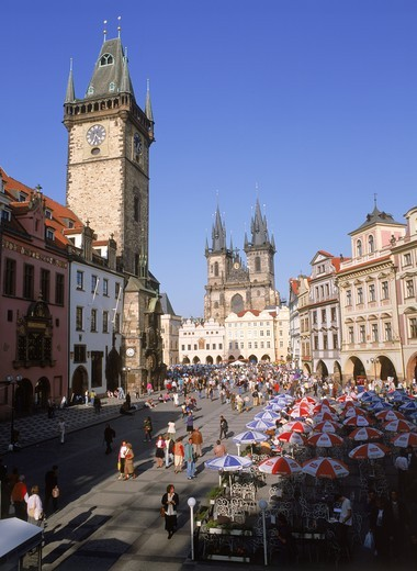 Stock Photo: 4176-5702 Old Town Square and Old Town Hall with Tyn Church in Prague