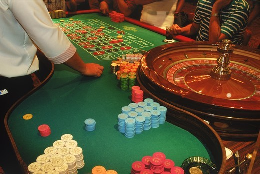 Stock Photo: 4176-5793 Gambling at roulette table