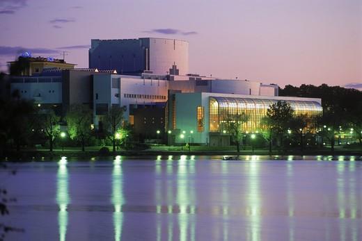 The Finnish National Opera House in Helsinki under long twilight of summer : Stock Photo
