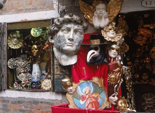 Carnival masks outside shop in Venice Italy : Stock Photo