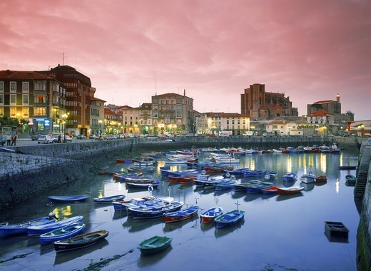 Stock Photo: 4176-6267 Harbor and Santa Maria Church in Castro Urdiales on Bay of Biscay in Spain