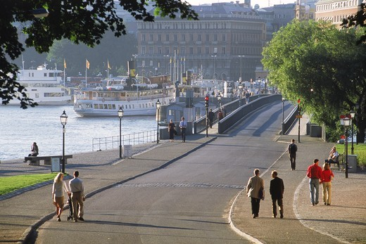 Stock Photo: 4176-6277 Ferryboats near bridge to Skeppsholmen in Stockholm
