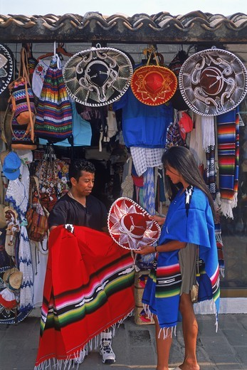 Woman shopping for souvenirs in Puerto Vallarta Mexico : Stock Photo