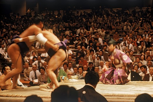 Stock Photo: 4176-6528 Sumo wrestlers in loincloth and sash or mawashi fighting in ring or dohyo