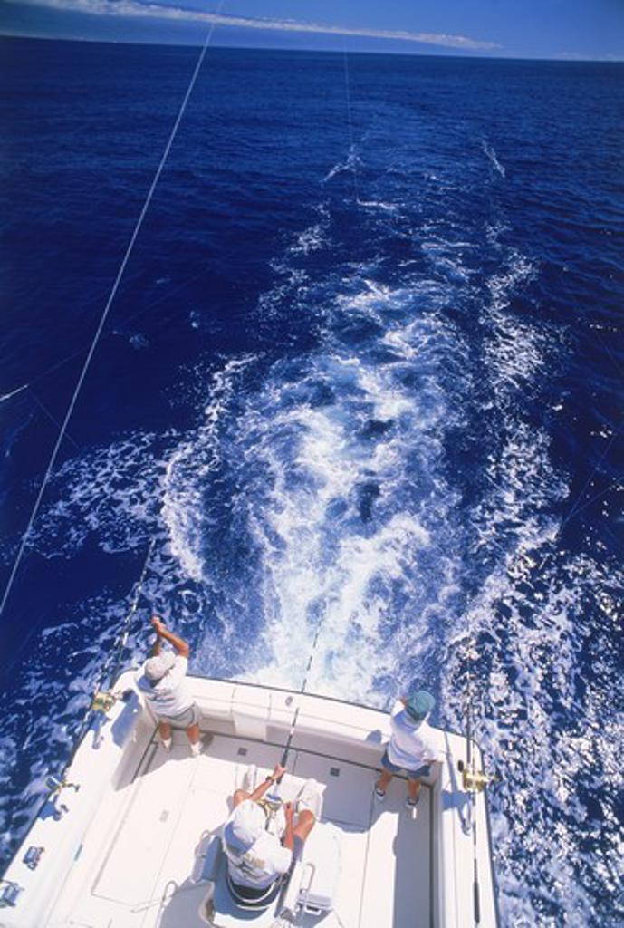 Deep sea fishing off Kona Coast of Hawaii : Stock Photo