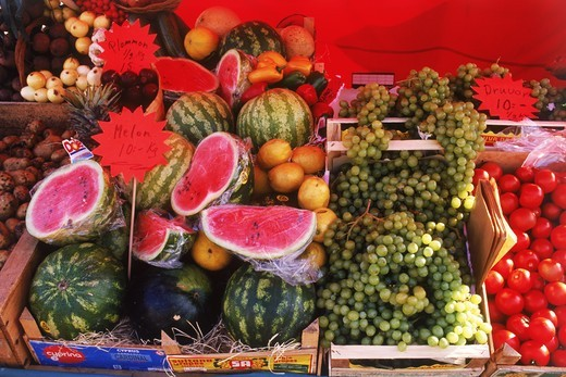 Fruitstand in outdoor market in France : Stock Photo