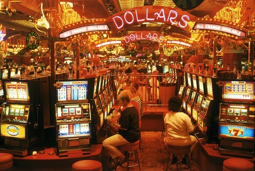 Stock Photo: 4176-7007 People playing slots in Nevada casino