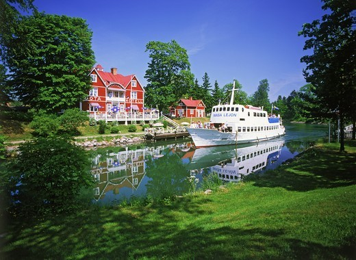 Stock Photo: 4176-7127 Passenger boat on Gota Canal at Borensberg in Sweden