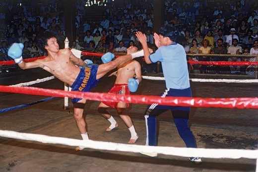 Professional Thai kick boxing match in Bangkok : Stock Photo