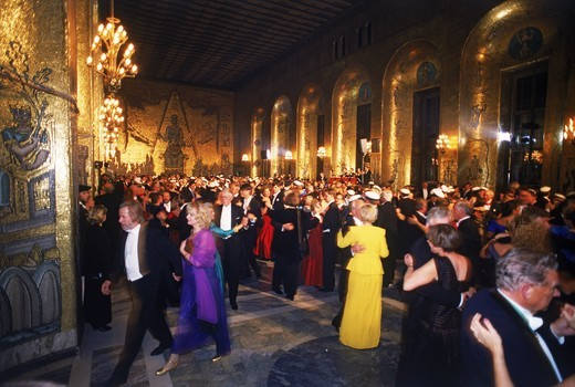 Stock Photo: 4176-7417 Dancing in Golden Room at Stockholm City Hall during Nobel Awards