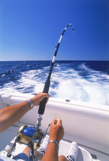 Deep sea fishing off Kona Coast of Hawaii : Stock Photo