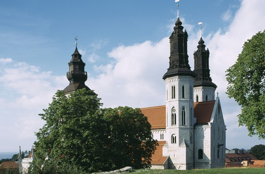 Visby Cathedral, S:t Maria church. Gotland. Sweden : Stock Photo