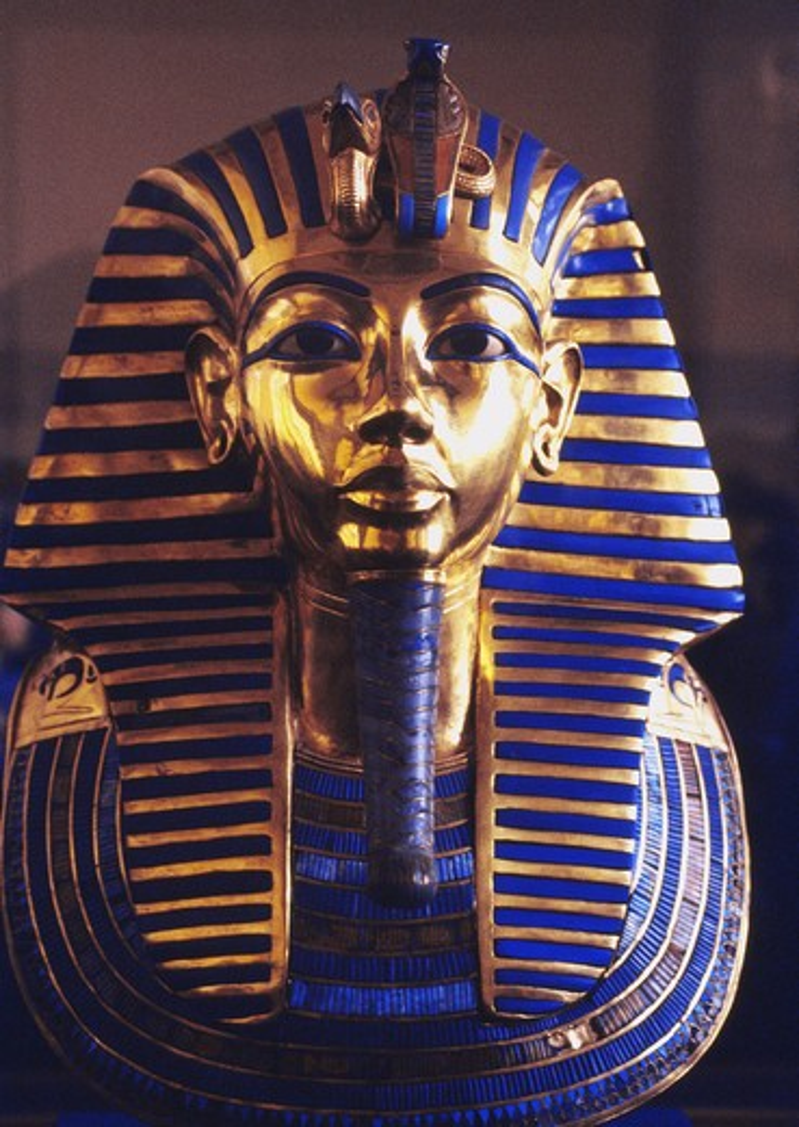 Stock Photo: 4176-8648 Tutanchamons dodsmask i guld i Kairos historiska museum