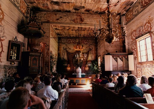 People in a church in Granhult in Smaland (SmAland) 1998. Sweden : Stock Photo